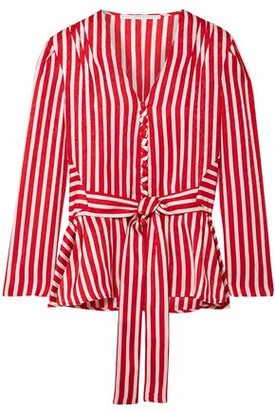 Stella McCartney Striped Silk-moire Peplum Blouse