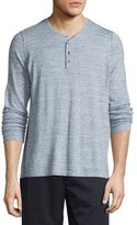 Vince Sporty Jaspe Long-Sleeve Mix Stitch Henley, Heathered Herring