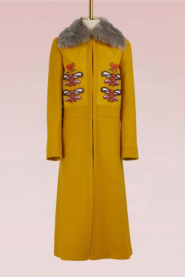 Anya Hindmarch LONG 70S COAT LEATHER APPLIQUE