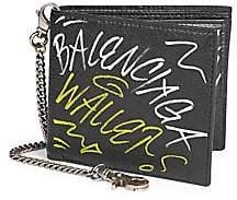 Balenciaga Men's Graffiti Explorer Chain Bi-Fold Wallet