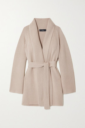 Arch4 Net Sustain Charlotte Mews Belted Cashmere Cardigan - Sand