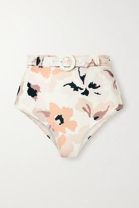 Peony Swimwear Soiree Belted Floral-print Bikini Briefs