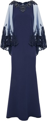 Badgley Mischka Embroidered Tulle-paneled Embellished Cady Gown