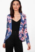 boohoo Mia Floral Tailored Blazer navy