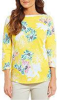 Westbound Boat Neck 3/4 Sleeve Printed Top