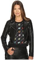Jeremy Scott Studded Leather Moto Jacket Women's Coat