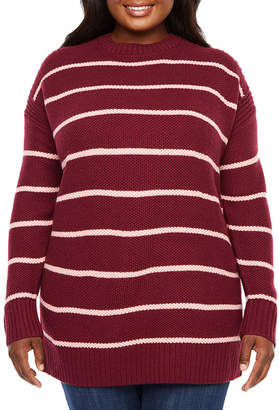 A.N.A Plus Womens Crew Neck Long Sleeve Striped Pullover Sweater