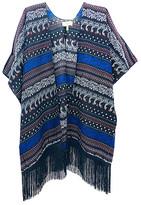 Jc Sunny JC Sunny Women's Kimono Cardigans BLACK - Black & Blue Paisley Stripe Fringe-Hem Kimono - Women