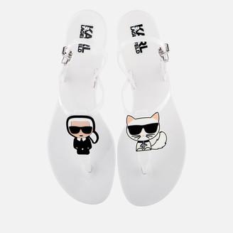 Karl Lagerfeld Paris Women's Jelly Ikonic Sling Sandals - White