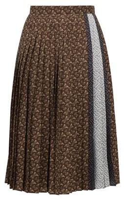 Burberry Marine Tb-print Pleated Crepe Midi Skirt - Brown Print
