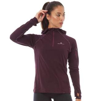 Ronhill Ron Hill Womens Momentum Workout 1/2 Zip Running Hoodie Aubergine/Blossom
