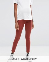 Asos Ridley Skinny Jean in Choco Latte With Under The Bump Waistband