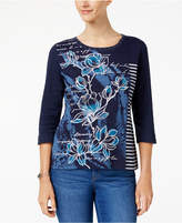 Karen Scott Metallic Mixed-Print Top, Created for Macy's