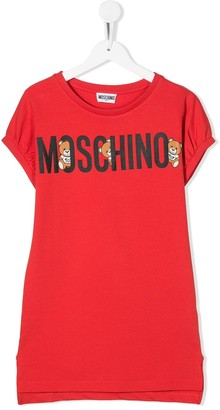 MOSCHINO BAMBINO TEEN logo print T-shirt dress