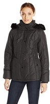 Weathertamer Women's Short Puffer Jacket with Faux Fur Trim Hood