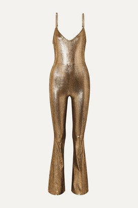 Sprwmn Metallic Stretch-leather Jumpsuit - Gold