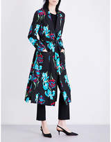 Diane von Furstenberg Ladies Black Patch Pocket Button Fastening Floral-Print Silk-Gabardine Wrap Coat