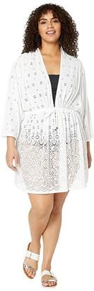 Dotti Plus Size Gypsy Gem Drawcord Waist Tunic Cover-Up (White) Women's Swimwear