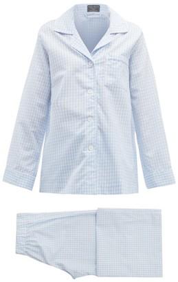 Emma Willis Zephirlino Gingham Cotton-blend Pyjamas - Womens - Blue Multi