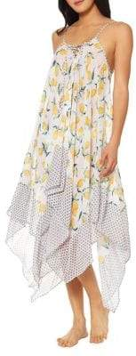 Jessica Simpson Asymmetrical Lemon-Print Coverup