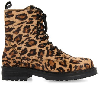 GIOSEPPO Bamberg Lace-Up Suede Boots in Leopard Print