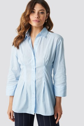 NA-KD Pleat Detail Oversized Shirt Blue