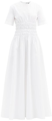 Maison Rabih Kayrouz Shirred-waist Poplin Dress - White