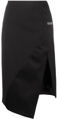Off-White Asymmetric-Hem Logo-Print Skirt