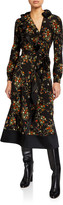 Tory Burch Floral Printed Long-Sleeve Ruffle Wrap Dress