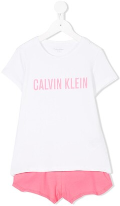 Calvin Klein Kids logo print T-shirt and shorts set