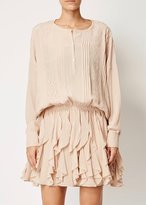 Faith Connexion Silk Ruffle Dress Nude
