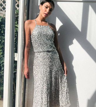 Maya Tall high neck all over delicate sequin midi pencil dress in silver