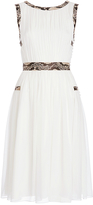 Diane von Furstenberg Letty Snake Trim Gathered Chiffon A-line Dress