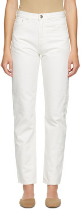 Totême SSENSE Exclusive White Twisted Seam Jeans