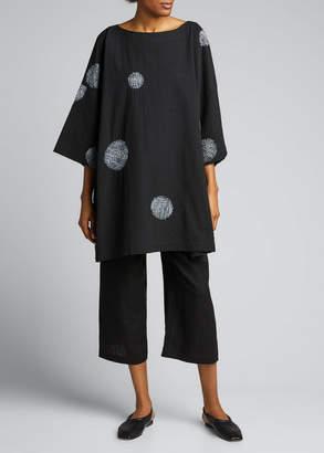 eskandar Dotted 3/4-Sleeve Cotton Tunic
