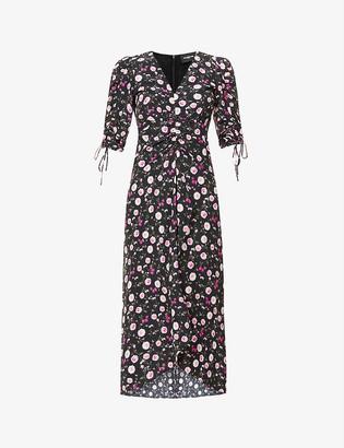 The Kooples Floral-print silk midi dress