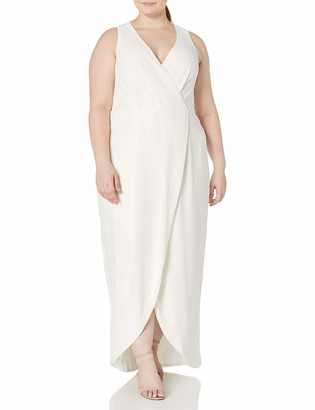 Dress the Population Women's Size Ariel Sleeveless Plunging Long Gown Wrap Dress Plus