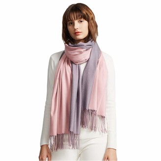 Livloko Pashmina Scarf for Women Cashmere Wool Blend Large 200x70 Premium Quality Thick Soft Lightweight Shawls Scarves Wedding Wraps Womens Gifts for Her (D. Grey Light Grey)