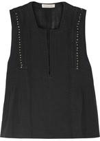 Etoile Isabel Marant Adonis Embellished Cotton-blend Gauze Top - Black