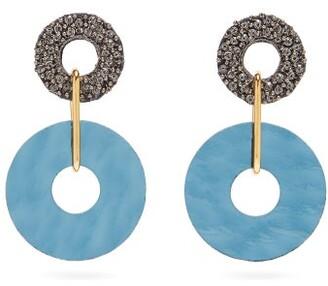 Lizzie Fortunato Indigo Beaded Disc Drop Earrings - Womens - Blue