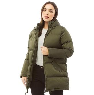 Fluid Womens Long Padded Zip Through Jacket Dark Khaki