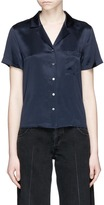 Alexander Wang Notched lapel silk charmeuse shirt
