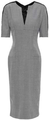 Amanda Wakeley Lace-trimmed Herringbone Wool Dress