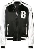 Balmain contrast sleeve bomber jacket