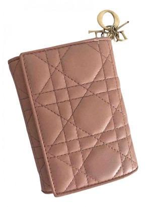 Christian Dior Lady Pink Leather Wallets