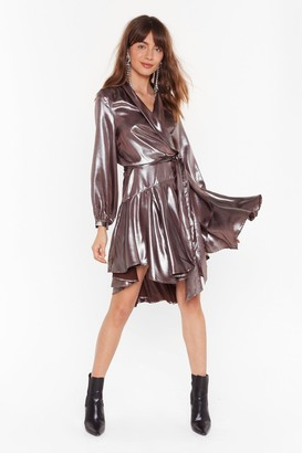 Nasty Gal Womens Losing Track of Shine Metallic Wrap Dress - grey - 4