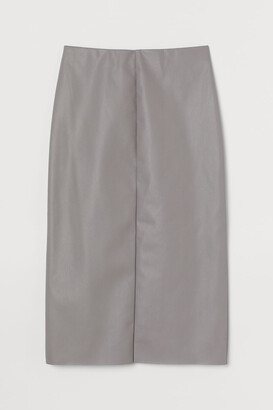 H&M Faux Leather Pencil Skirt - Gray