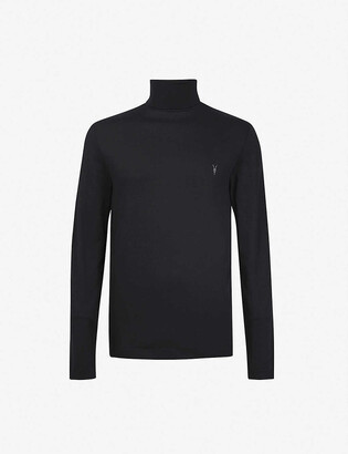 AllSaints Parlour brand-embroidered cotton and modal-blend turtleneck jumper