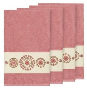 Linum Home Isabelle 4-Pc. Embroidered Turkish Cotton Bath Towel Set Bedding