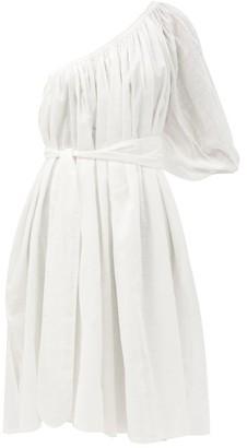 Loup Charmant Azores One-shoulder Cotton Lace-jacquard Dress - White